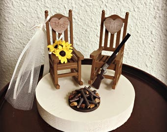 Rustic wedding cake toppers | Etsy