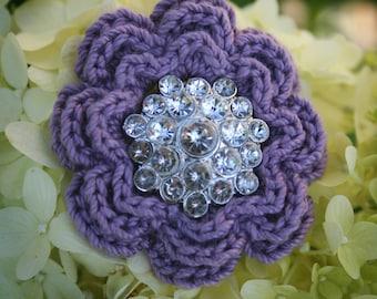 Crocheted pin button brooch flower crochet lavender shabby chic