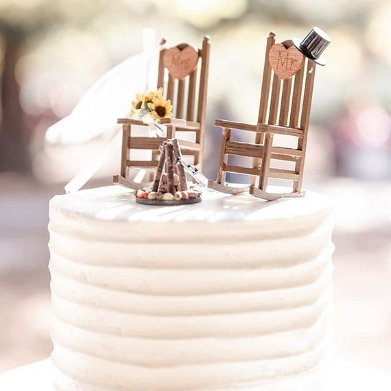 Astonishing Rustic Wedding Cake Toppers Wedding Cake Topper Cabin Chairs Rocking Chair Wedding Rustic Wedding Hunting Wedding Gamerscity Chair Design For Home Gamerscityorg