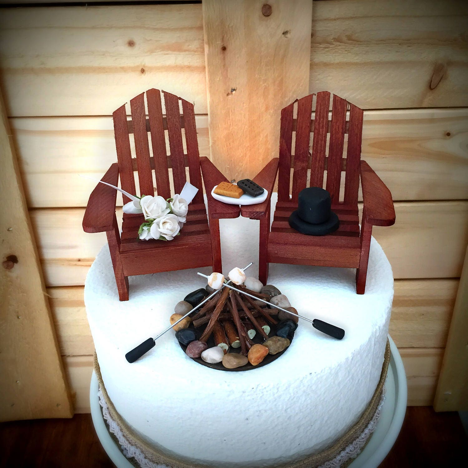 Rustic Wedding Cakes: Rustic Smore Wedding Cake Toppers / Wedding Cake Topper