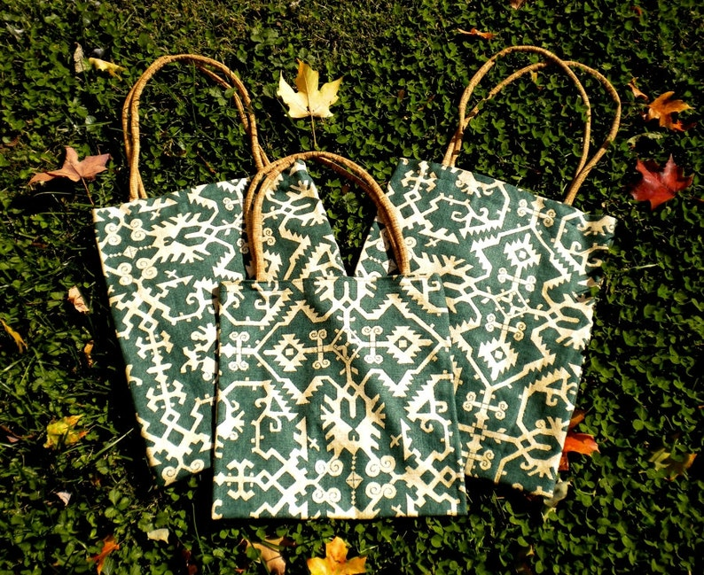 Green and Tan cord handles market bags Set of 3 Tribal Design Slim bags beach bag tote book bag