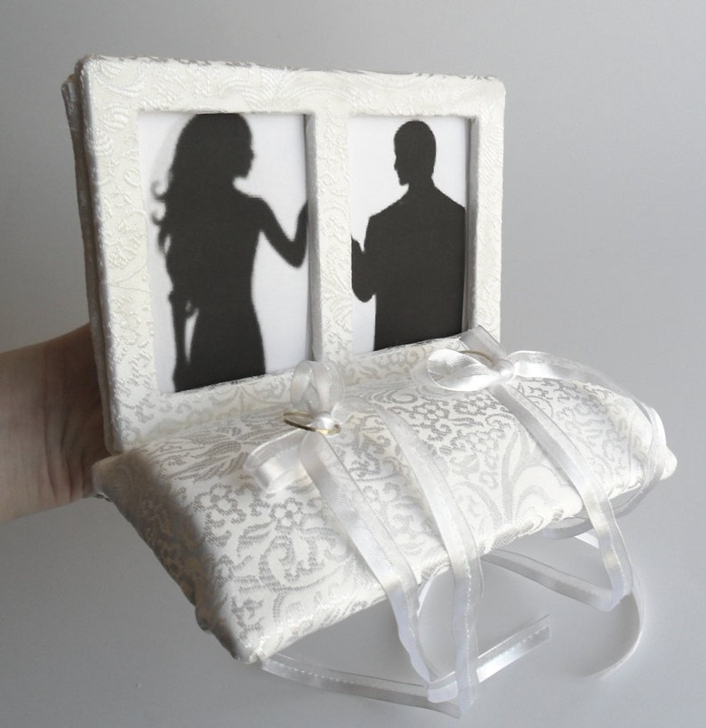 White Ivory Ring Pillow Unique Picture Frame Design