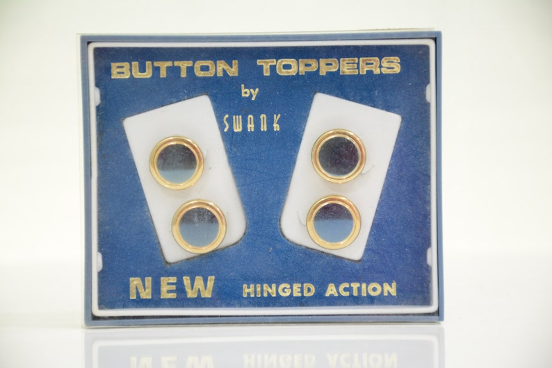 b7e123de7d6f Mid Century Blue & Gold SWANK Hinged Button Toppers Tuxedo | Etsy