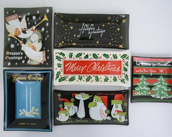 Glass and Ceramic Christmas Holiday Trays - Christmas Tree, Angels, Holly, Birds, Bllue, Gold Stars, Humbert & Jones Black Green, Red Decor