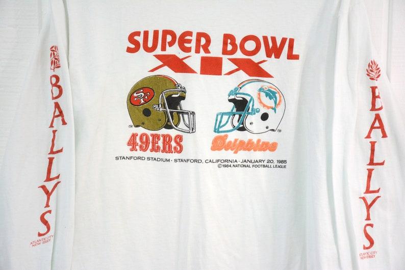 c9a0a7a6f Vintage 1985 Super Bowl Long Sleeve Shirt 49ers vs Miami