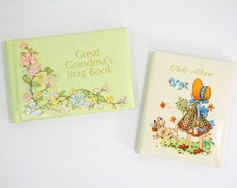 Vintage Mid Century Grandma's Brag Book Photo Album or Holly Hobbie Miniature Album - Green, Birds, Girl, Flowers, Gold, Kitsch