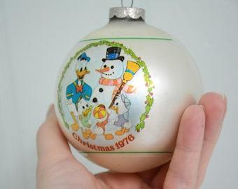 1976 Disney Uncle Donald Duck with Huey, Dewey, & Louie Building a Snowman Christmas Ball Ornament