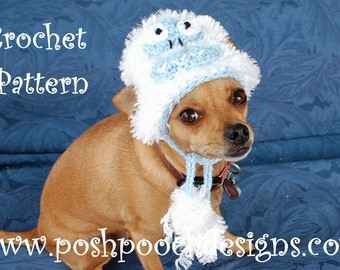 Instant Download Crochet Pattern - Abominable Snowman Dog Hat - Small Dog  Beanie 2-20 lbs 782c99ef488