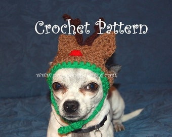 140d8268d0e Instant Download Crochet Pattern - Reindeer Dog Hat -Small Dog Hat 2-20 lbs