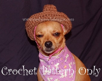 0dde0e50672 Instant Download Crochet Pattern - Cowboy Hat for Small Dogs - Small Dog Hat