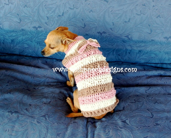 Instant Download Crochet Pattern Nubby Striped Dog Sweater Etsy