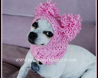 Instant Download Crochet Pattern Pink Pom Pom Dog Snood