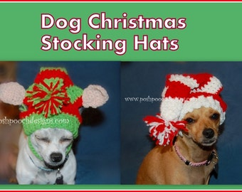 Instant Download Crochet Pattern - Christmas Elf  Dog Stocking Cap - Small Dogs 2-20 lbs