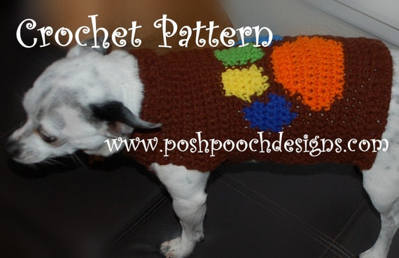 Instant Download Crochet Pattern Paw Print Dog Sweater Small
