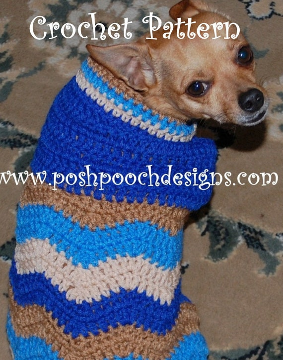 Instant Download Crochet Pattern Chevron Dog Sweater Small Etsy
