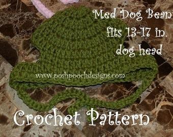 Instant Download Crochet Pattern - Medium Dog Beanie Hat  Medium Dog 13-17 inch head