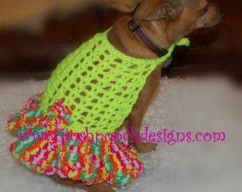 Instant Download - Crochet Pattern - Halter Dog Dress with Flirty Ruffle Skirt  Small, Dog, Medium Dog, Large Dog
