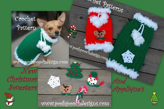 Instant Download Crochet Pattern Christmas Dog Sweater With Etsy