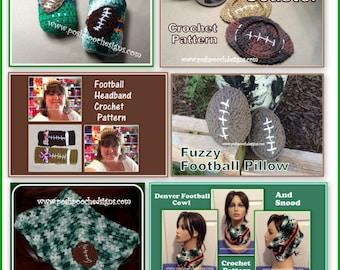 Football Crochet Pattern E Book - 6 Crochet Patterns Instant Download PDF file