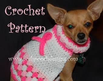 Instant Download Crochet Pattern - Dog Sweater - Breast Cancer Awareness