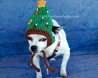 Instant download Crochet Pattern - Christmas Tree Dog Hat - Small Dog Hat