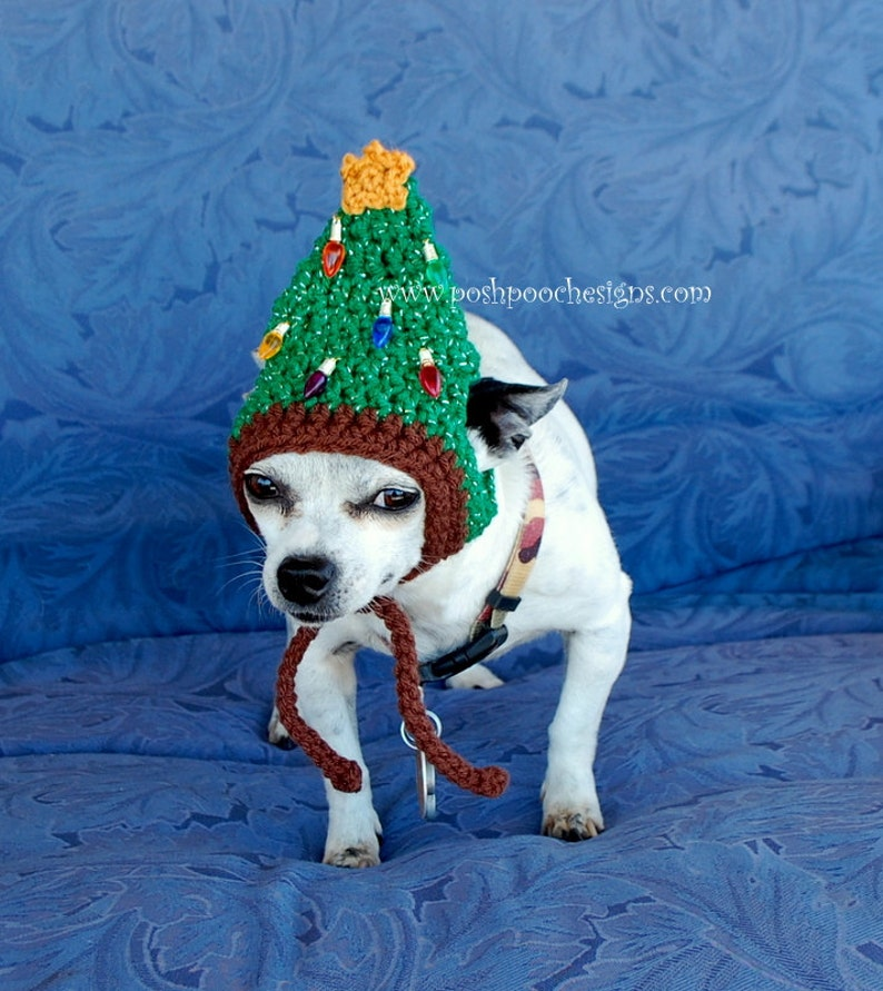 Instant download Crochet Pattern  Christmas Tree Dog Hat  image 0