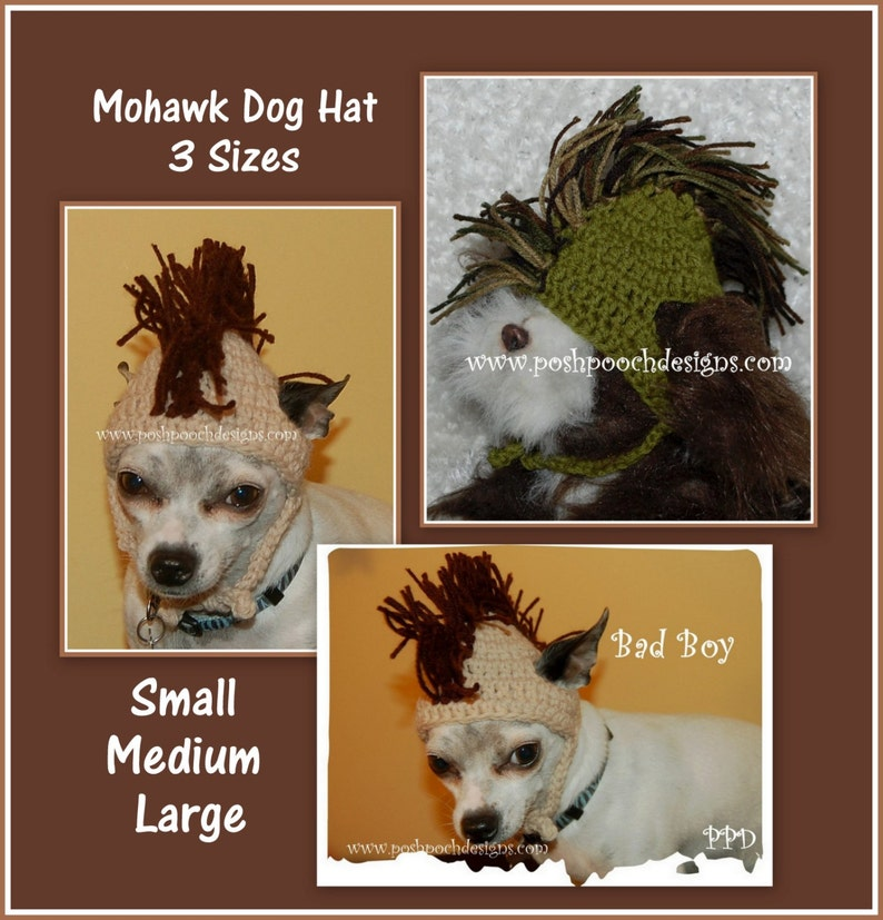 Instant download CROCHET PATTERN Mohawk Dog Hat 3 Sizes  823cc8f30d9