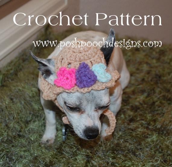 Instant Download Crochet Pattern Spring Flowers Dog Hat Etsy
