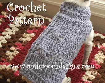 Instant Download Crochet Pattern - Cable Stitch Dog Sweater - Small Dog Sweater - 2-15 lbs.