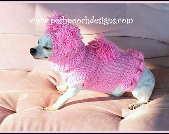 Instant Download Crochet Pattern Bundle - Pink Pom Pom Dog Snood and Sweater Set