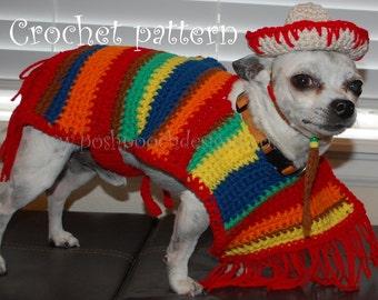 Instant Download Crochet pattern - Dog Sombrero and Poncho set  Cinco De Mayo
