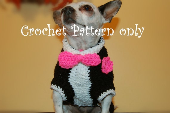 Instant Download Crochet Pattern Tuxedo Dog Sweater Small Etsy