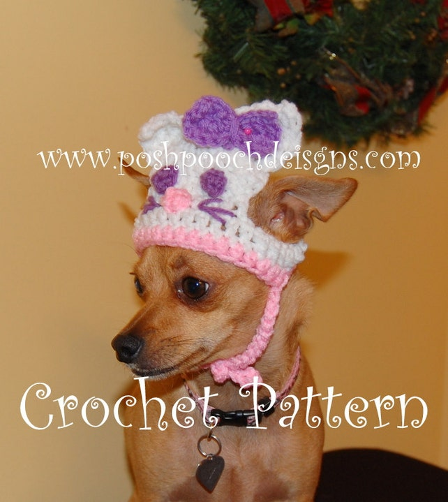 Instant Download Crochet Pattern Hey Kitty Dog Hat Small Etsy