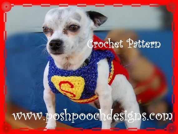 Instant Download Crochet Pattern Super Dog Sweater And Cape Etsy