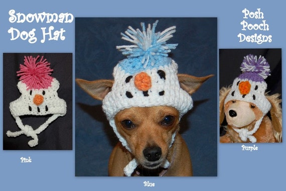 Instant Download Crochet Pattern Snowman Dog Hat 3 sizes  2dbd48d5ed7