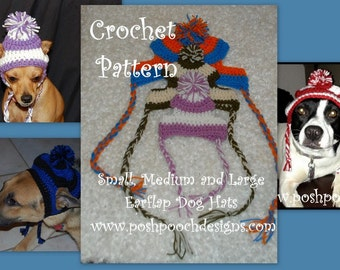 Instant Download - Crochet Pattern Bundle - Small, Medium and Large Striped Earflap Dog Hat Patterns