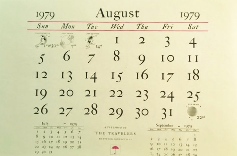 1979 Calendar August.Vintage Currier And Ives Travelers Insurance Calendar Print August 1979 Staten Island And The Narrows