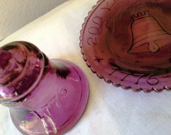 Bicentennial Commemorative Liberty Bell Purple Glass Plate by Mosser and Purple Glass 1976 Bell