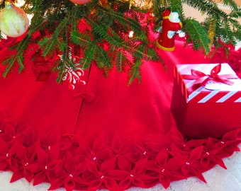65christmas tree skirt in a deep red premium felt with hand cut and sewn flowers free shipping - Christmas Tree Skirts Etsy