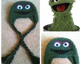 62495d913a1 Crochet Oscar The Grouch Beanie Hat