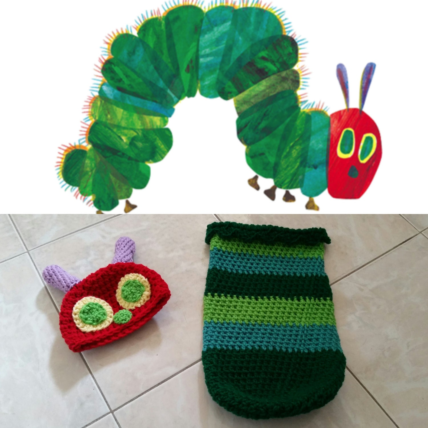 Crochet The Very Hungry Caterpillar Outfit Beanie Cocoon Etsy