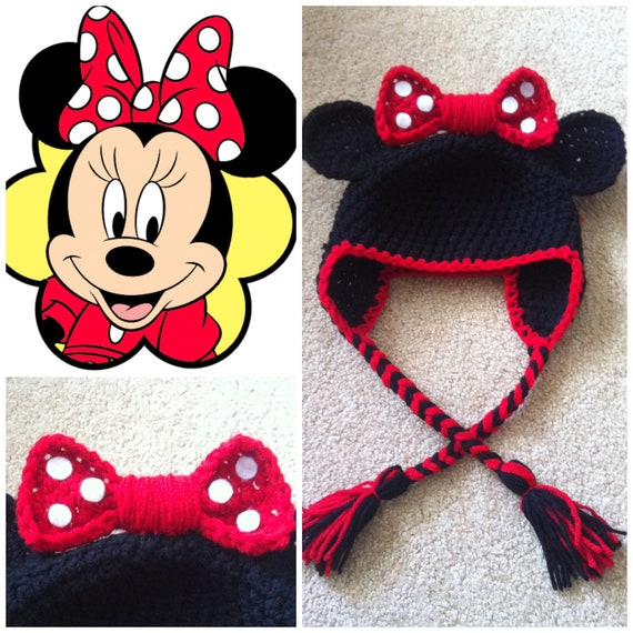 Minnie Mouse Bonnetchapeau Au Crochet Etsy