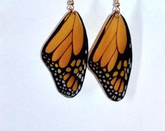 Monarch butterfly earrings, Handcrafted Jewelry, 14 k gold, Sterling Silver, Dangled earrings, fish hook earrings, Orange and Black