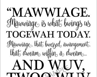 Mawwiage Lines-The Princess Bride-11x14 print