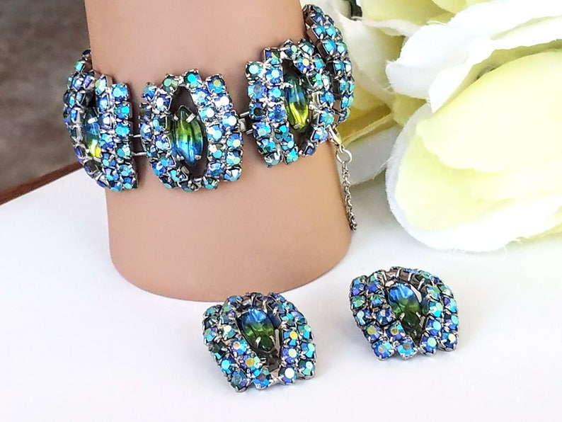 Blue and Green Rhinestones Rhinestone Bracelet and Earring Set Vintage Link Style Bracelet /& Earring Set Demi Parure AB Rhinestones