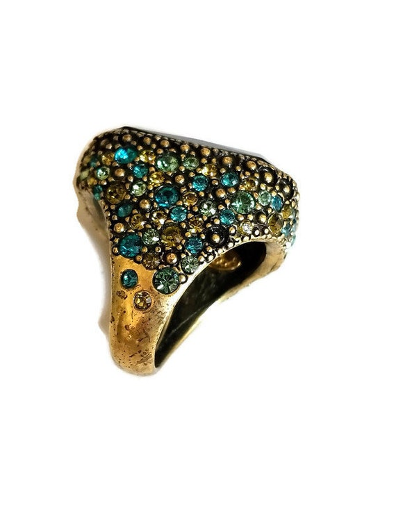 Vintage Signed Hobe Green and Blue Rhinestone Huge Statement Ring
