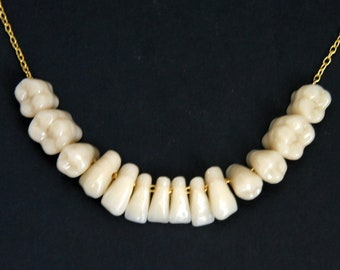 MADE To ORDER Human Teeth Tooth Necklace Pendant Sterling Silver Chain Bone Medical Anatomical Art Creepy Jewelry