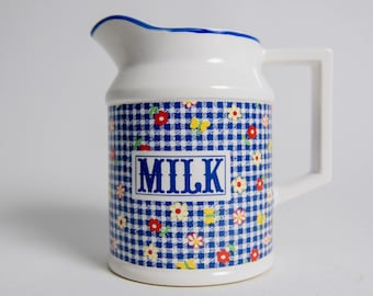 Vintage 1980s Country Milk Pitcher With Gingham and Flowers