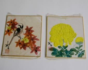 Vintage Asian Bird and Flower Wall Prints