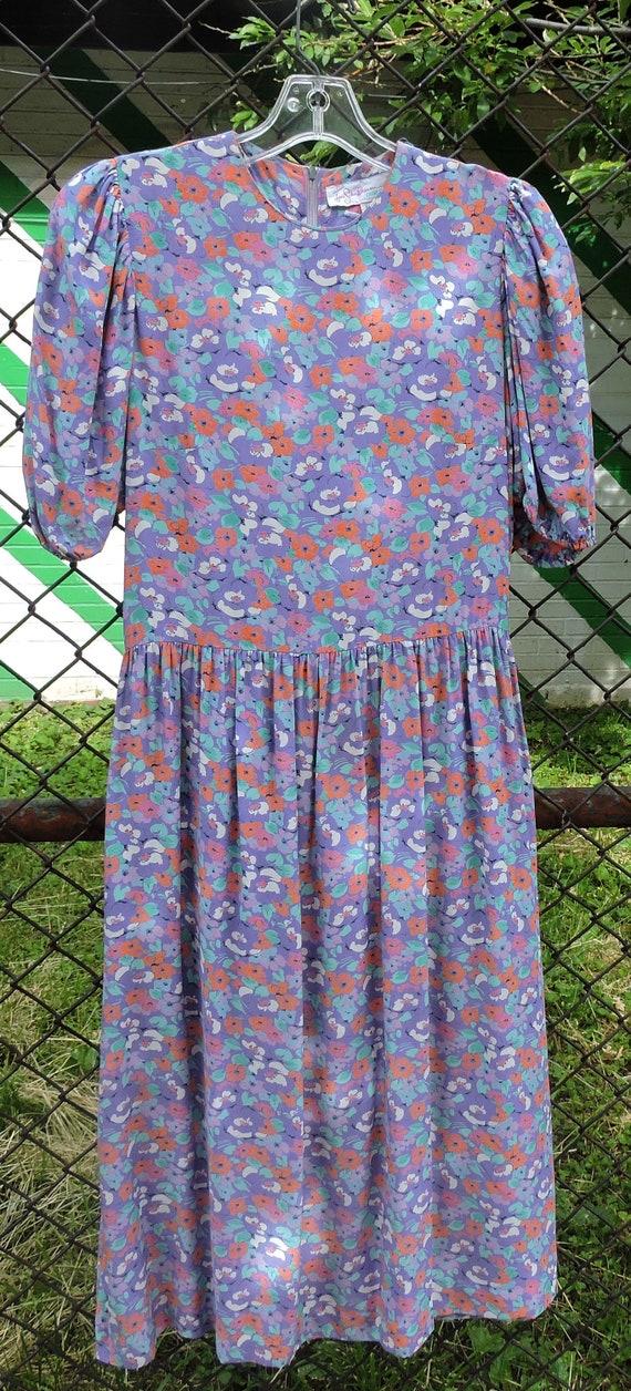 80's JANE SCHAFFHAUSEN floral prairie style midi … - image 4